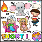 Phonics SHORT I Vowel Sound - B/W & Color clipart. {Lilly Silly Billy}