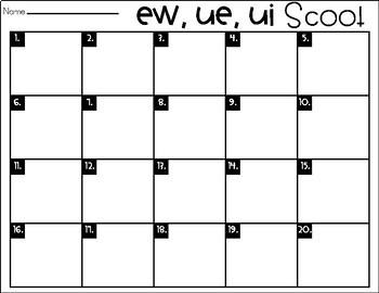 Phonics Scoot: EW, UE, UI
