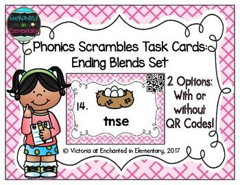 Phonics Scrambles Task Cards: Ending Blends Set