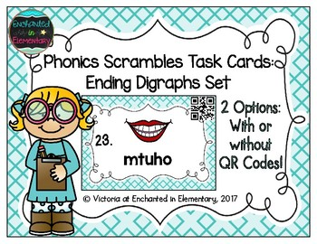 Phonics Scrambles Task Cards: Ending Digraphs Set