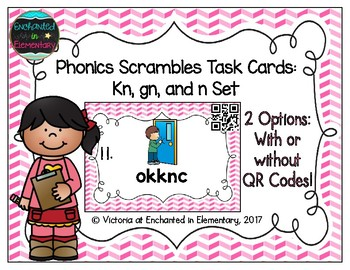 Phonics Scrambles Task Cards: Kn, Gn, and N Set