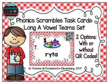 Phonics Scrambles Task Cards: Long A Vowel Teams Set