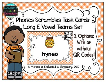 Phonics Scrambles Task Cards: Long E Vowel Teams Set