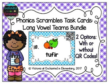 Phonics Scrambles Task Cards: Long Vowel Teams Bundle