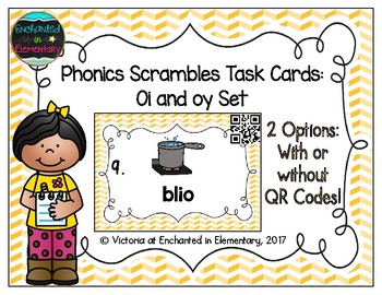 Phonics Scrambles Task Cards: Oi and oy Set