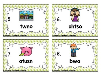 Phonics Scrambles Task Cards: Ow and ou Set