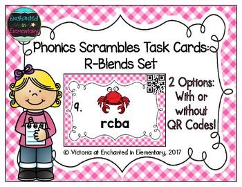 Phonics Scrambles Task Cards: R-Blends Set