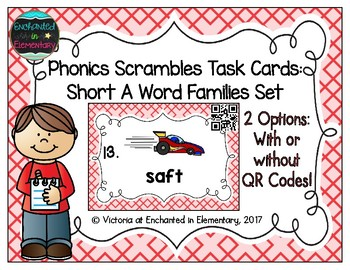 Phonics Scrambles Task Cards: Short A Word Families Set