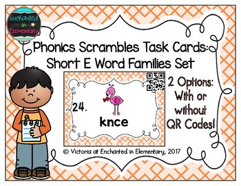 Phonics Scrambles Task Cards: Short E Word Families Set