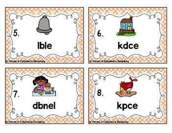 Phonics Scrambles Task Cards: Short E Word Families Set