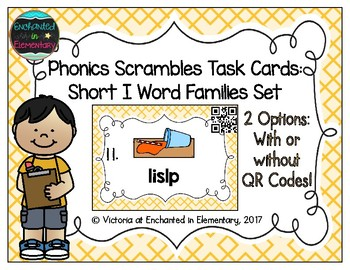 Phonics Scrambles Task Cards: Short I Word Families Set