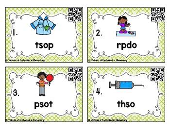 Phonics Scrambles Task Cards: Short O Word Families Set