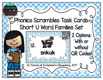 Phonics Scrambles Task Cards: Short U Word Families Set