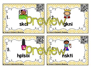 Phonics Scrambles Task Cards: Short Vowel Word Families Bundle