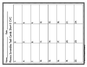 Phonics Scrambles Task Cards: Short e CVC Set
