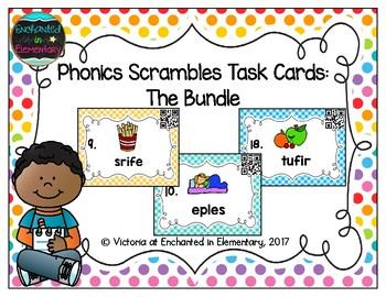 Phonics Scrambles Task Cards- The Growing Bundle