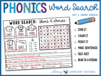 PHONICS Word Search and Write (Short Vowel Words)