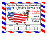 Phonics Segmenting-Chunking 12 Four Syllable Picture Words