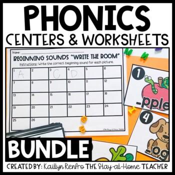 Phonics Sensory Bins and Worksheets Bundle
