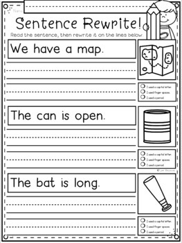 Phonics Sentence Rewrites for Kindergarten and First Grade