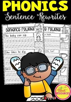 Phonics Sentence Rewrites in NSW Foundation Font ACARA Aligned