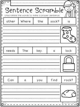 Phonics Sentence Scrambles for Kindergarten and First Grade by Tweet ...