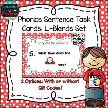 Phonics Sentence Task Cards: L-Blends Set