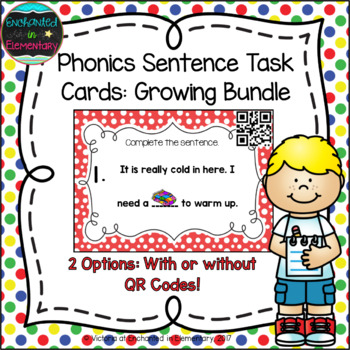 Phonics Sentence Task Cards- The Growing Bundle