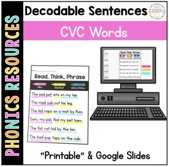 Phonics Sentences: CVC Words | Distance Learning