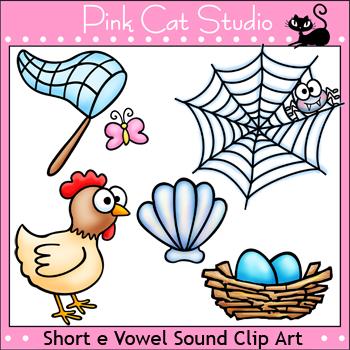 Phonics Short E Vowel Sound Clip Art Set - Personal or Commercial Use