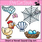 Phonics Short E Vowel Sound Clip Art Set - hen, nest, net, shell, web - Clipart