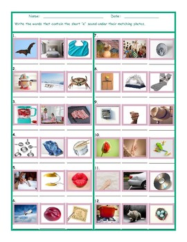 Phonics Short E Vowel Sound Worksheet
