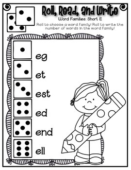 Phonics (Short  E Word Families) Roll, Read, and Write Activity ~ Free!