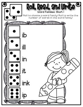 Phonics (Short  I Word Families) Roll, Read, and Write Activity ~ Free!