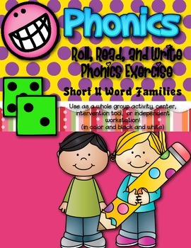 Phonics (Short U Word Families) Roll, Read, and Write Acti