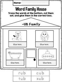 Phonics Short U Word Family Packet