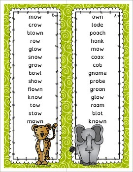 Phonics Word Lists with Short Vowel Silent e and Long Vowel Team Patterns Zoo
