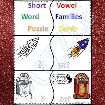 """Phonics """"Short Vowel Word Families"""" (Puzzle Cards or Flashcards)"""