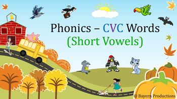 CVC Words PowerPoint 223 Slide Phonics PPT with Pictures, Phrases & Flashcards