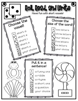 Phonics (Short Vowels) Roll, Read, and Write Activity ~ Free!