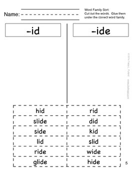 Word Sorts: Cut and Paste Short/Long A & I Words (CCSS Aligned)