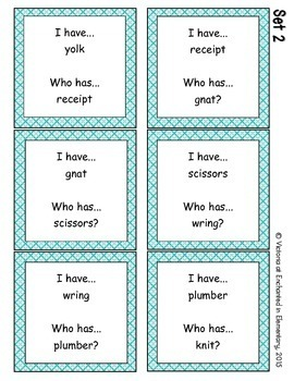 Phonics: Silent Consonants- I Have, Who Has?