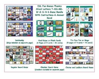 Phonics Silent Letters T-KN-MB-W-G-D-N  Six Game Bundle