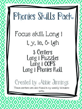 Phonics Skill Pack- Long i- i, y, ie, & igh