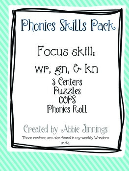 Phonics Skill Pack- wr, gn, & kn