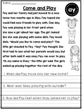Phonics Skills Reading Comprehension Passages