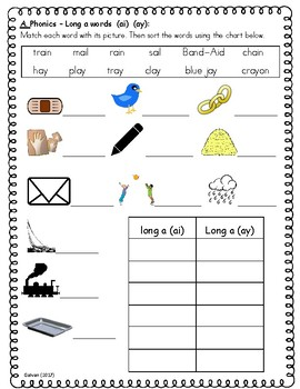 Phonics Skills Workbook - Focus Long A (ai, ay) & Review of First Grade Skills