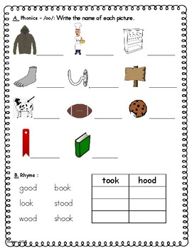 Phonics Skills Workbook - Focus /oo/ (e.g. book) & Review of First Grade Skills