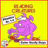 Phonics | Color Goofy Guys | Gr 1-2 CORE |   Early Finishers | Color by Words