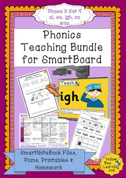 Phonics SmartBoard  Lessons - Phase 3 Set 9 bundle - ai ee igh oa was